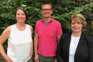 Leibnizforum Vorstand (2018), Meike Uphoff (1. Vorstand), Andreas Scholze (Schatzmeister), Monika Rosner (2. Vorstand).